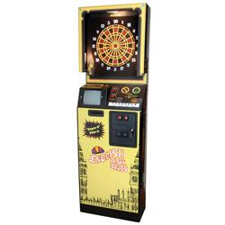 "Coin-operated arcade machine, English Mark Darts, mfgd by Archnid, Exc working cond, 81""H x 26""W x 1"