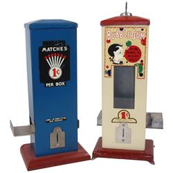 Coin-operated machines (2), Hawkeye Novelty Co. 1 Cent matches & bubblegum machines, both metal, bot