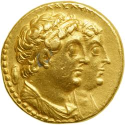 Ptolemaic Egypt. Ptolemy II, 285-246 BC. Gold Oktadrachm (or Mnaieion; 27.72 g) minted at Alexandria