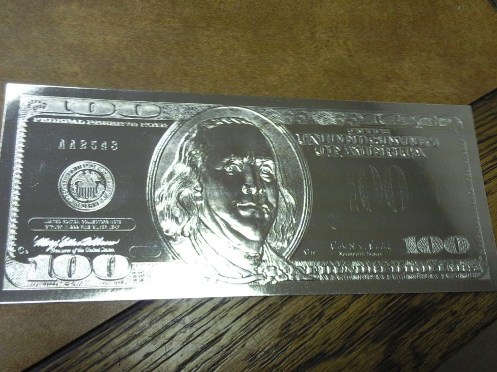 Silver Foil Us 100 Dollar Bill