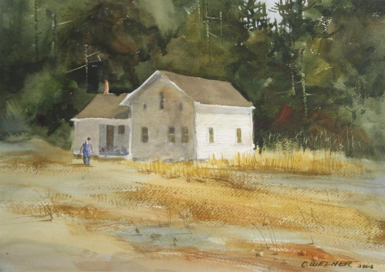 Cathy Welner Ohio 20th Century Farmhouse Watercolor Loading Zoom