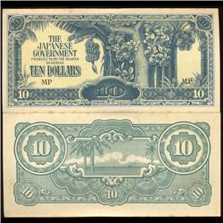 1942 Malaysia $10 Japanese Occupation Crisp Unc Note (COI-3806)