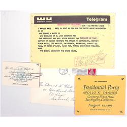Apollo 11, 1969, Presidential Dinner Telegram and Inv