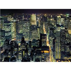 Henri Silberman, From the Empire State Building, NYC.  Photograph. Night time Aerial view of NYC