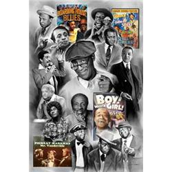 Wishum Gregory, Legends of Comedy. Bill Cosby, Red Foxx, Dick Gregory, Richard Pryor, etc. Collage.