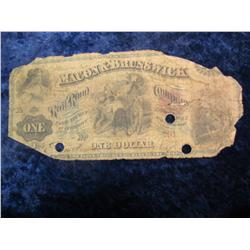 373. 1867 Macon  & Brunswick R.R. One Dollar Note. AG
