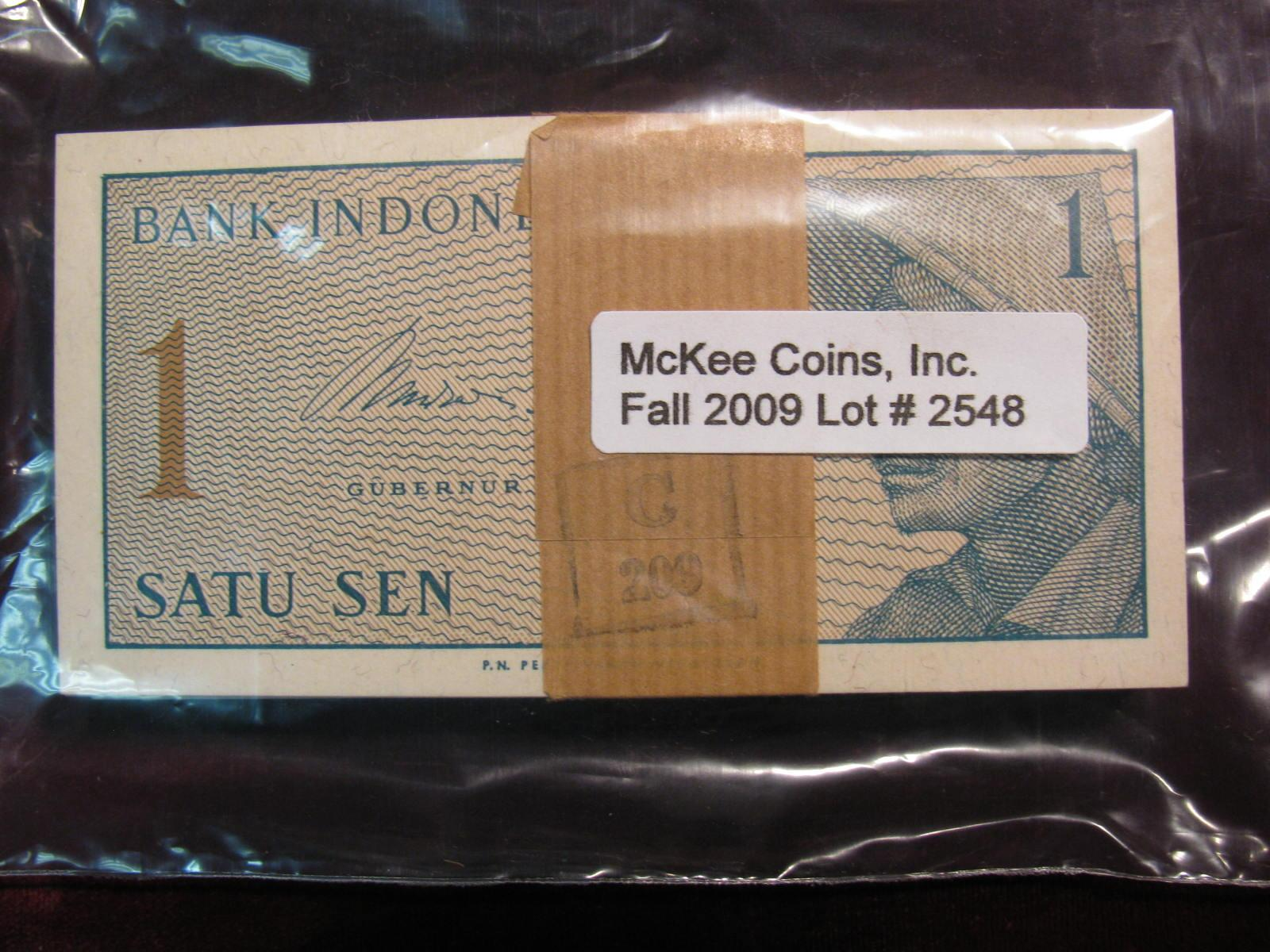 2548. 1964 Original Bundle Of Indonesia Satu Sen Notes. UNC. Loading zoom