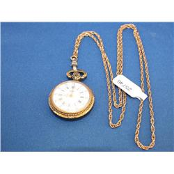 Antique Rollie Pocket watch W/Chain 12k GF