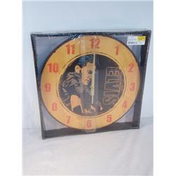 Elvis Classic Hollywood Decoupage Wall Clock Mustard Color