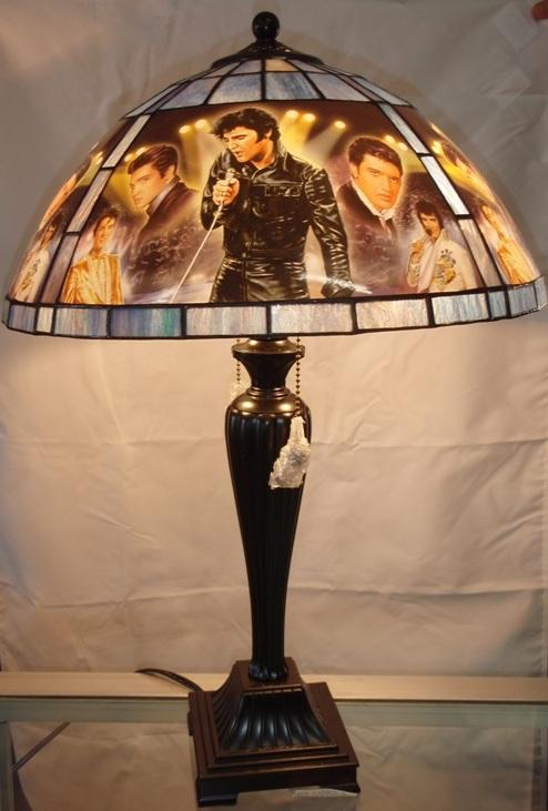 Nice Image 1 : Large Tiffany Style Stained Glass Elvis Lamp