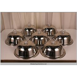 """Law Abiding Citizen"" 2009 Chrome Serving Trays with Covers, Set of 7"