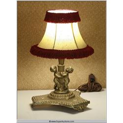 Gold Painted Plaster Putti Cupid Lamp with Ruffled Shade