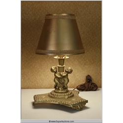 Gold Painted Plaster Putti Cupid Lamp with Gold Colored shade