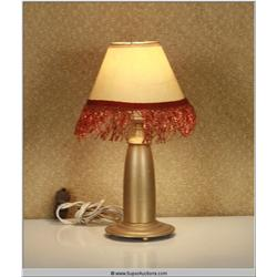 Small Brass Painted Bullet Lamp with Ruffle Lamp Shade