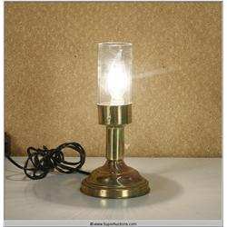 "Small 7"" Brass Table Lamp with Glass Cylinder Shade"