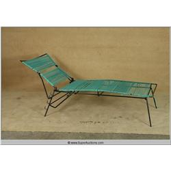 """Ray"" 2004 starring ""Jamie Foxx"" Black Iron Patio Pool Side Lounge Chair with Green Band Wrapping us"