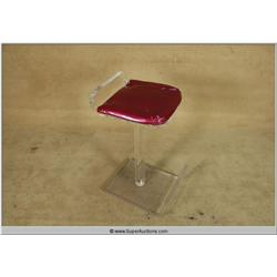 Vintage Acrylic Bar Stool with Tufted Cushion Top