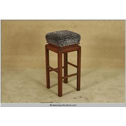Dark Wood Sqaure Wood Bar Stool with Lepord Print Top