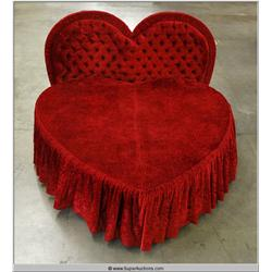 "96"" Red Heart Shaped Bed with Tufted Heart Shaped Head Board"