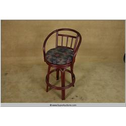 Red Painted Bent Bamboo Bar Stool with Back and Foam Cushion Top