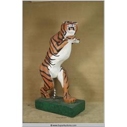 "94"" Paper Mache Tiger fixed to Base with Wheels"