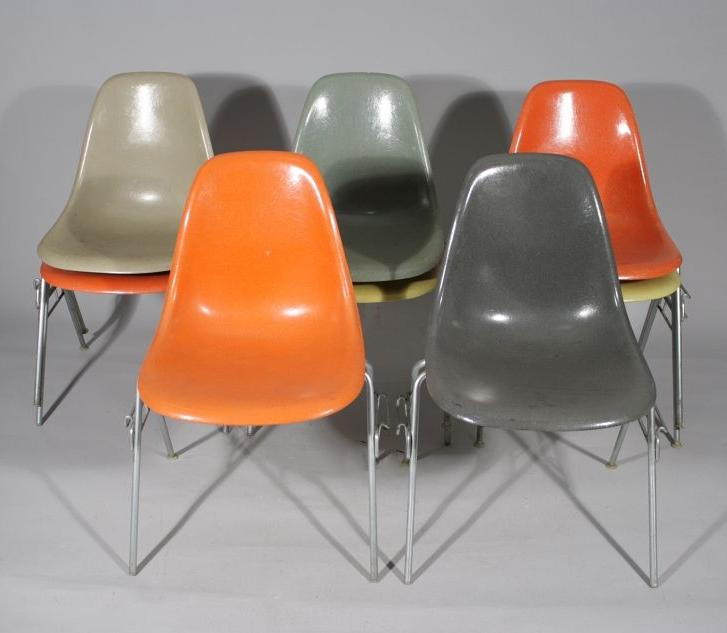 A Set Of Eight Charles Eames For Herman Miller, Fiberglass Stacking Chairs.  Loading Zoom