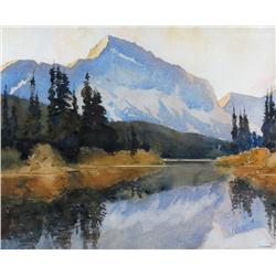 James Dichmont Canadian ASA [1875-1962]MOUNT RUNDLE FROM VERMILLION LAKESwatercolour on paper13 x 16