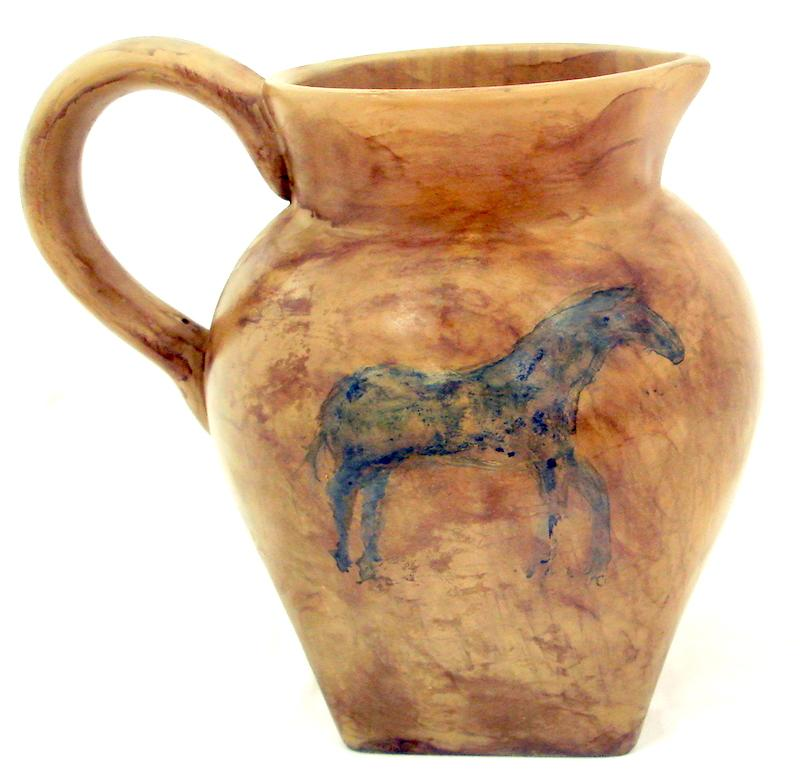water pitcher with horse image