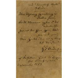 Original unpublished handwritten poem by Hans Christian Andersen