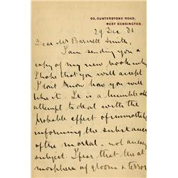 H. Rider Haggard handwritten letter discussing King Solomon's Mines