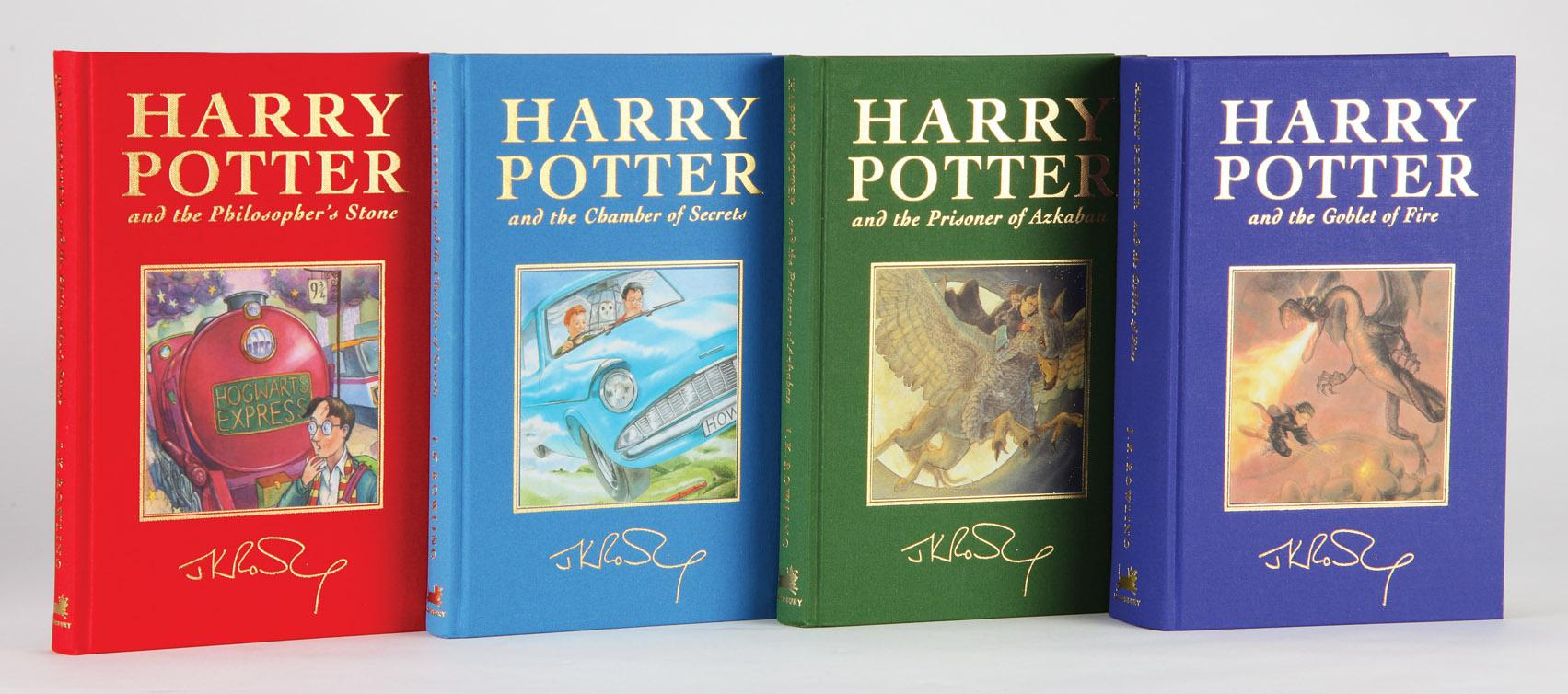 The First Four Harry Potter Books Deluxe Editions Each Inscribed