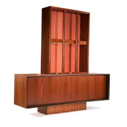 Vladimir kagan buffet with glass front display cabinet for Sideboard glasfront