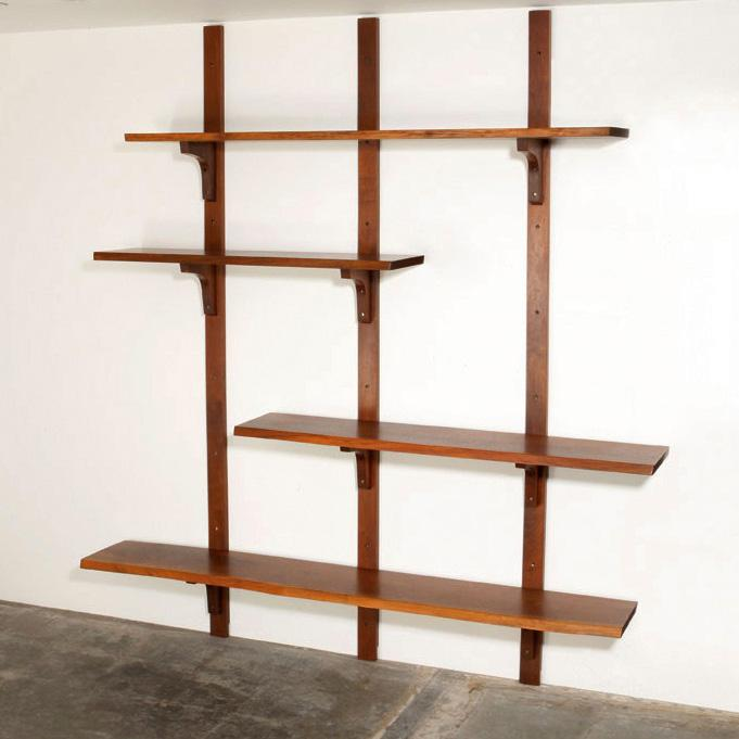 George nakashima wall mounted shelf Wall mounted bookcase shelves