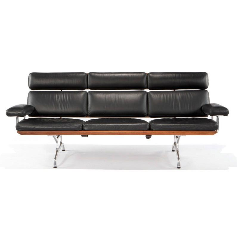 charles ray eames teak and leather sofa
