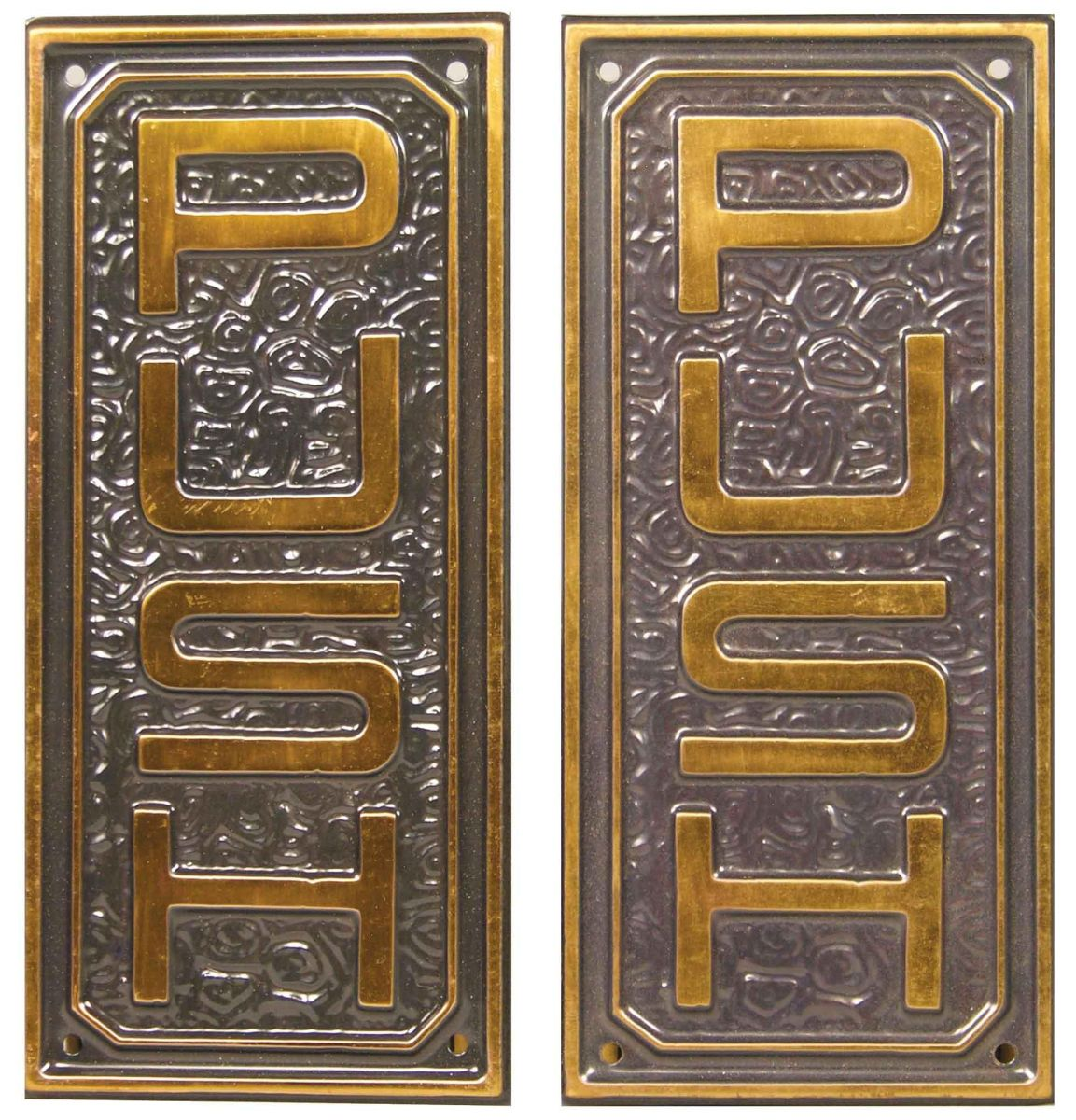 Pair of brass push pull door plates for Door push plates