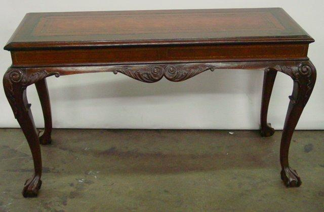 Image 1 Leather Top Clawfoot Sofa Table