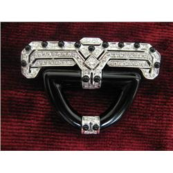 18kt Art Deco style onyx & diamond pin