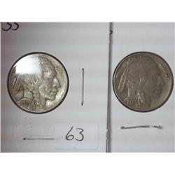 1935 And 1936 Buffalo Nickels
