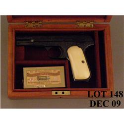 Colt Model 1903 semi-auto pistol, engraved, blue finish, thick ivory grips, #438. This gun is in ove