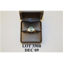 Brilliant 10 karat yellow gold ladies ring set with a center fine checkerboard cut London blue topaz