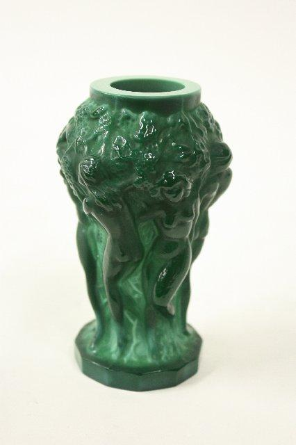 Malachite Green Glass Vase Nudes Approx 475 H