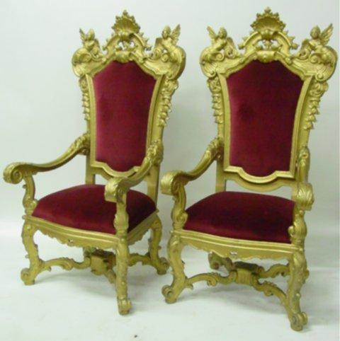 Pair 19th c. heavily carved gilt throne chairs - With female nude angels,  Northwind arm rests, carv - Pair 19th C. Heavily Carved Gilt Throne Chairs - With Female Nude