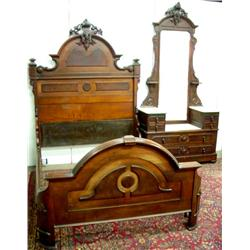 Victorian bedroom attrib mitchell rammelsberg for Matching bed and dresser