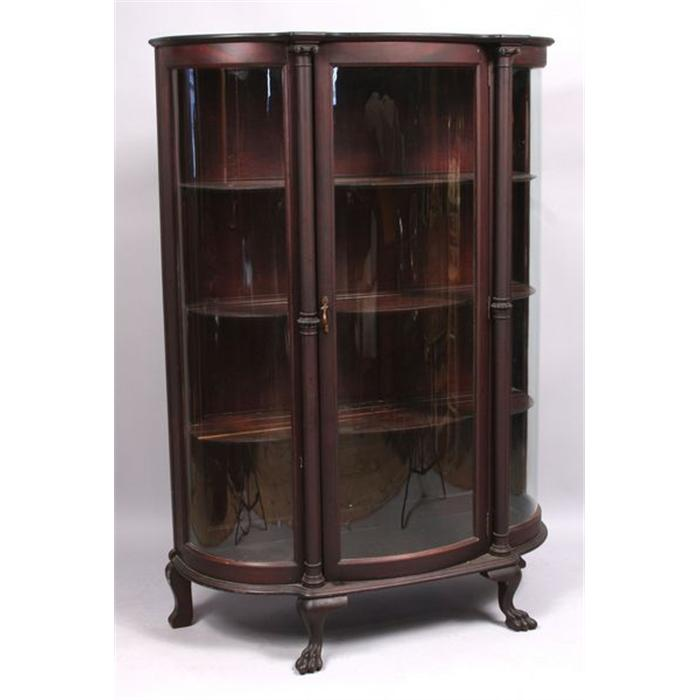 - Mahogany Curved Glass China Cabinet