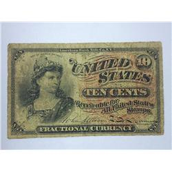 1863 US Ten Cent Fractional Currency (VG)