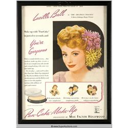 Pan-Cake Make-Up Advertisement 1944 Featuring Lucille Ball {Max Factor Collection}