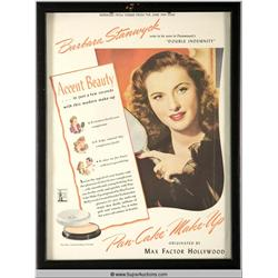 Pan-Cake Make-Up Advertisement 1944 Featuring Barbara Stanwyck {Max Factor Collection}