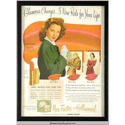 Glamour Changes Lipstick Advertisement 1947 Featuring Susan Hayward {Max Factor Collection}