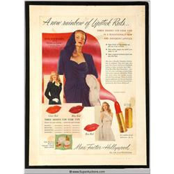 Lipstick Reds Advertisement 1947 Featuring Rita Hayworth {Max Factor Collection}