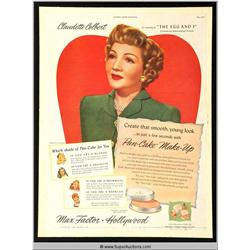 Pan-Cake Make-Up Advertisement 1947 Featuring Claudette Colbert {Max Factor Collection}